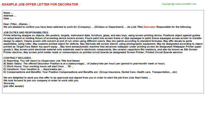 Decorator Offer Letter Template