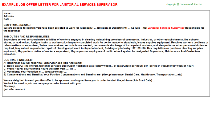 Janitorial Services Supervisor Offer Letter Template