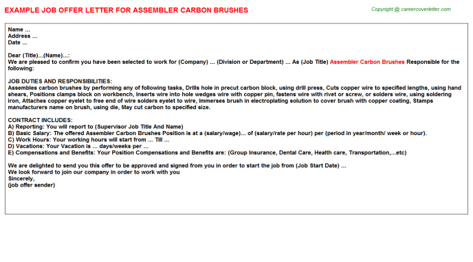 Assembler Carbon Brushes Job Offer Letter Template