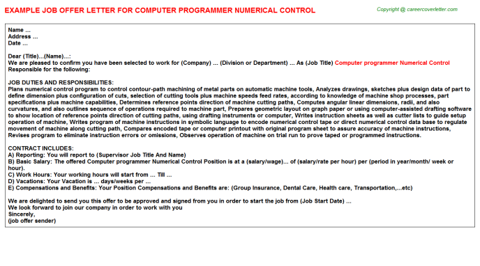 Computer programmer Numerical Control Offer Letter Template