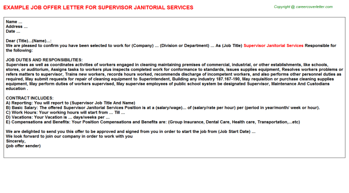Supervisor Janitorial Services Job Offer Letter Template