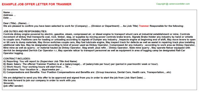 Trammer Offer Letter Template
