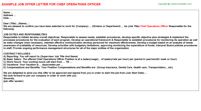 Chief Operations Officer Offer Letter Template
