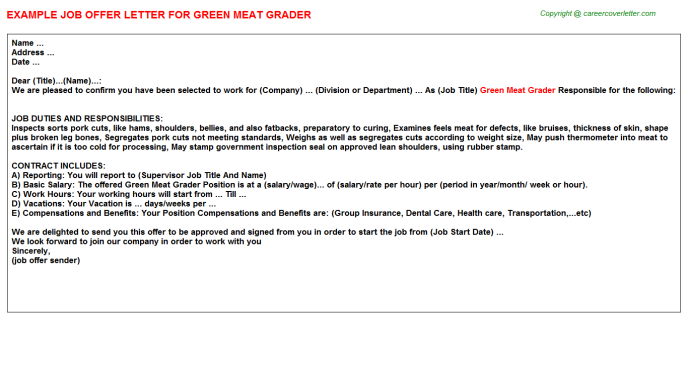 green meat grader offer letter template