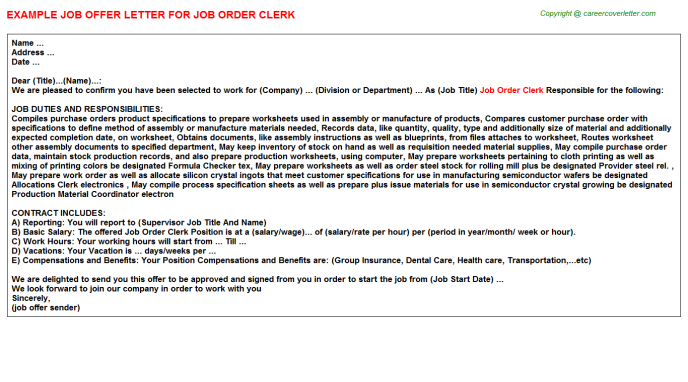 Job order clerk job offer letter (#3501)