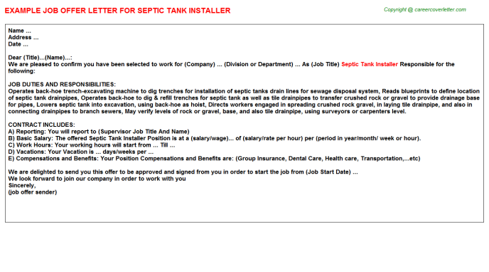 Septic tank Installer Offer Letter Template