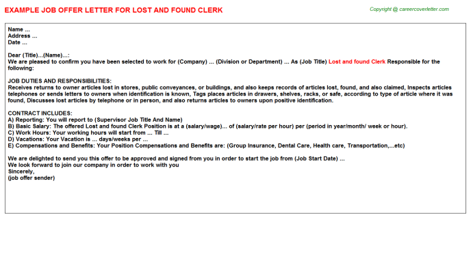 Lost and found clerk job offer letter (#3519)