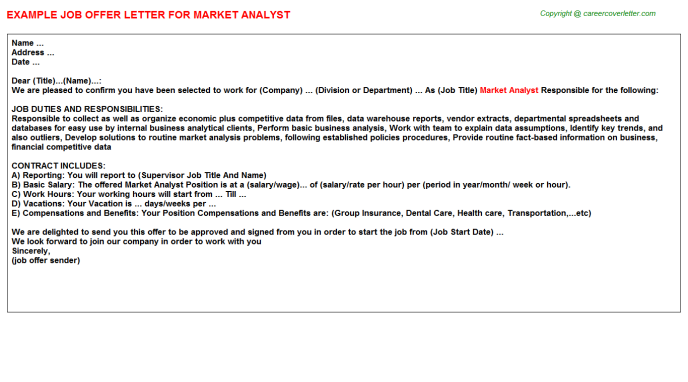 Market Analyst Offer Letter Template