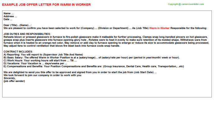 Warm In Worker Offer Letter Template