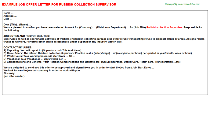 Rubbish Collection Supervisor Offer Letter Template