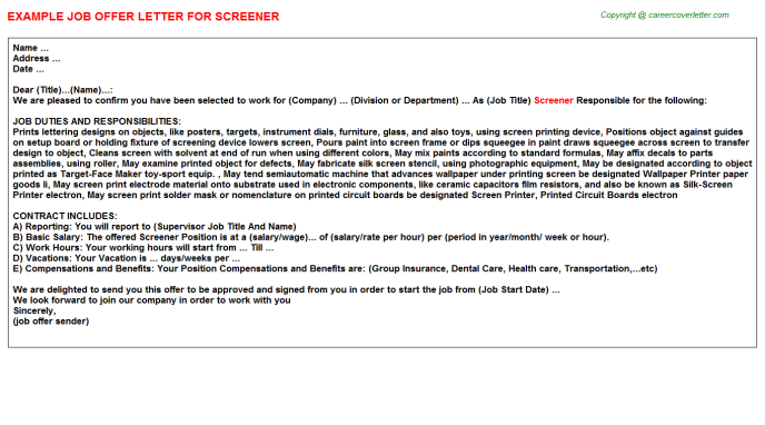 Screener Offer Letter Template