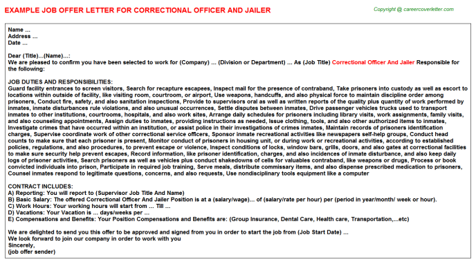 correctional-officer-and-jailer-Offer-Letter Offer Letter Template Acquisition on simple employee, counter proposal, for temp position, executive job, employee job, temporary position, decline job, business purchase, employer job, executive employment,