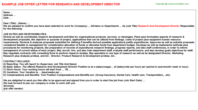 Research and development director job offer letter (#2700)