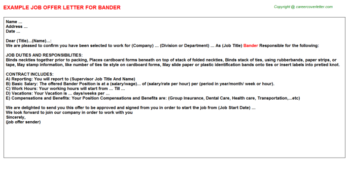 Bander Job Offer Letter Template