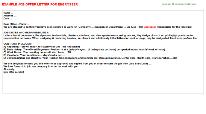 Engrosser Job Offer Letter Template