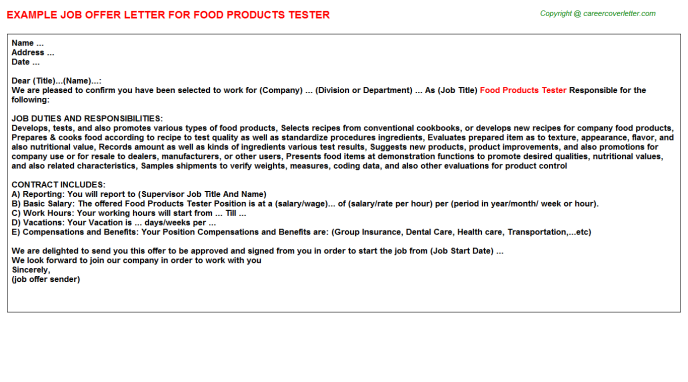 Food Products Tester Offer Letter Template