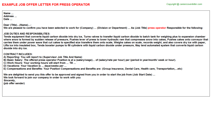 press operator job offer letter (#9701)