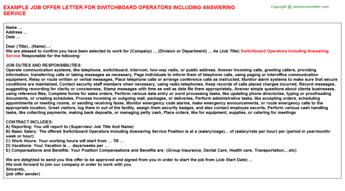 Switchboard Operators Including Answering Service Job Offer