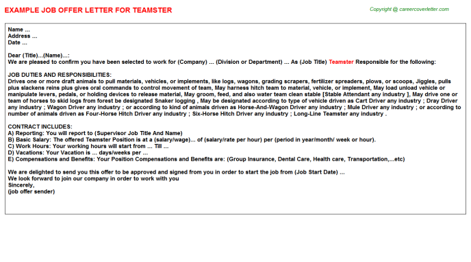 Teamster Job Offer Letter Template