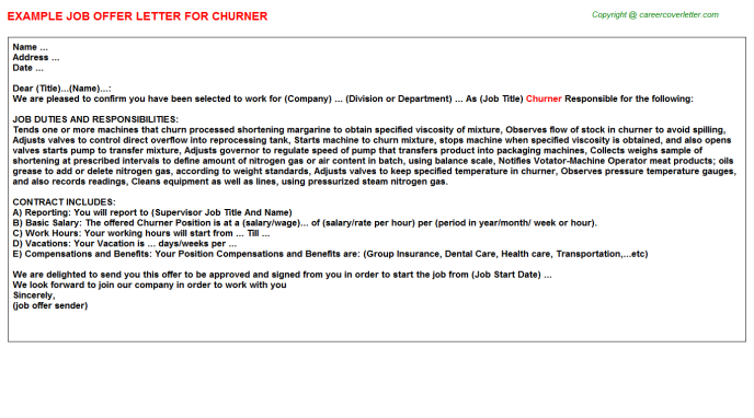 Churner Job Offer Letter Template
