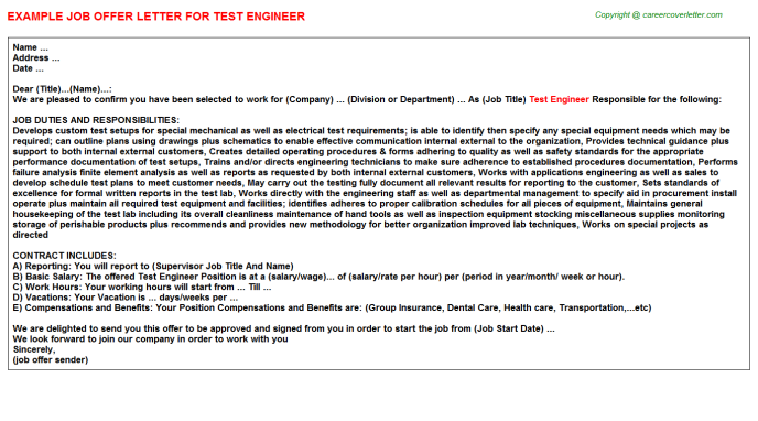 Test Engineer Offer Letter Template