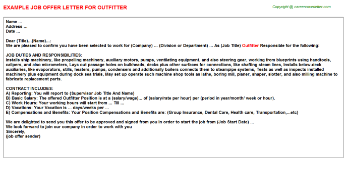 Outfitter Job Offer Letter Template