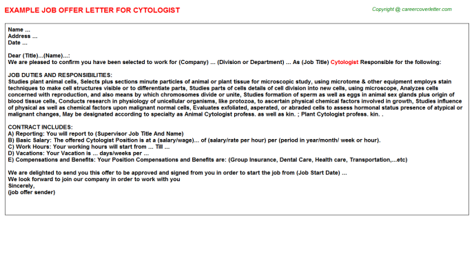 Cytologist Offer Letter Template