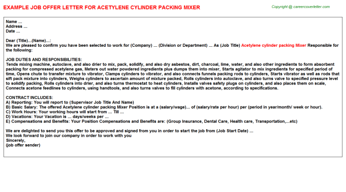 Acetylene Cylinder Packing Mixer Offer Letter Template