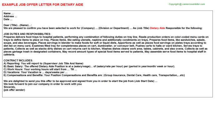 Dietary Aide Offer Letter Template