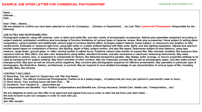 Commercial Photographer Offer Letter Template