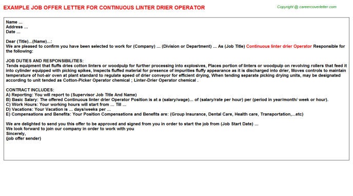 Continuous linter drier Operator Offer Letter Template