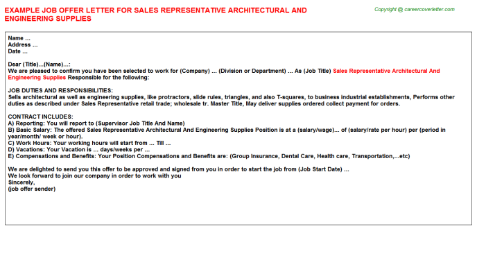 sales representative architectural and engineering supplies offer letter template