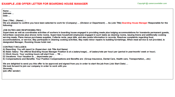 boarding house manager offer letter template