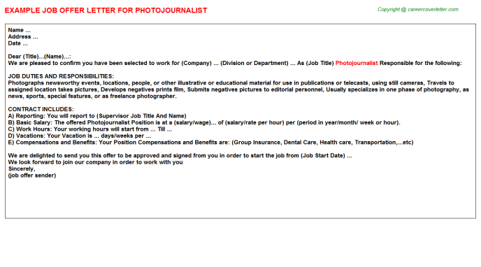 Photojournalist Job Offer Letter Template