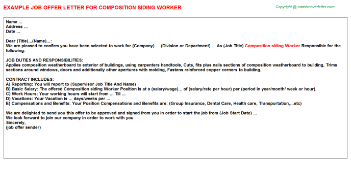 Composition siding Worker Offer Letter Template