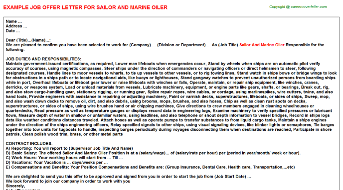 Sailor And Marine Oiler Job Offer Letter