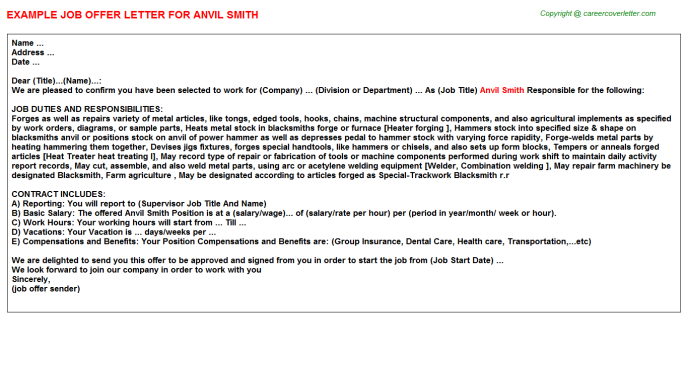 Anvil Smith Offer Letter Template