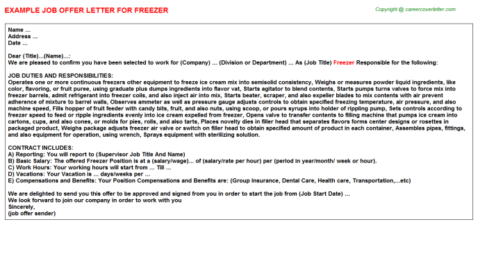 Freezer Offer Letter Template
