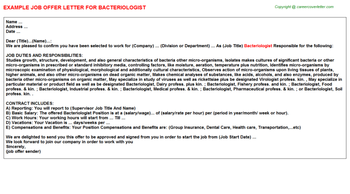 Bacteriologist Offer Letter Template