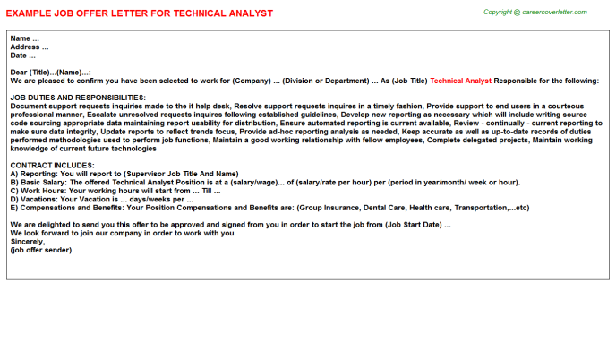 Technical Analyst Offer Letter Template