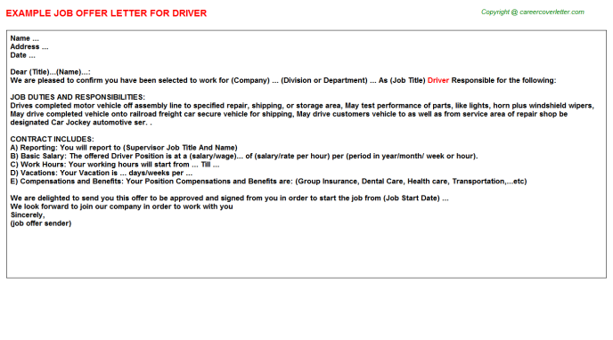 Driver Offer Letters