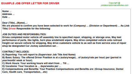 Vehicle Service Department Letter >> Driver Offer Letters