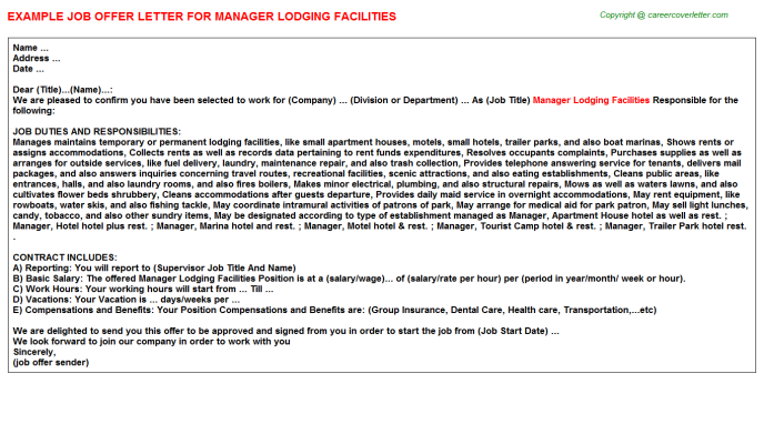 manager lodging facilities offer letter template