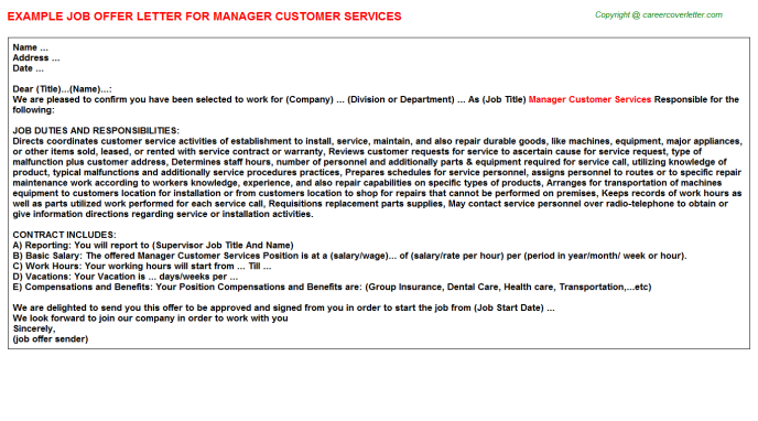 Manager Customer Services Offer Letter Template