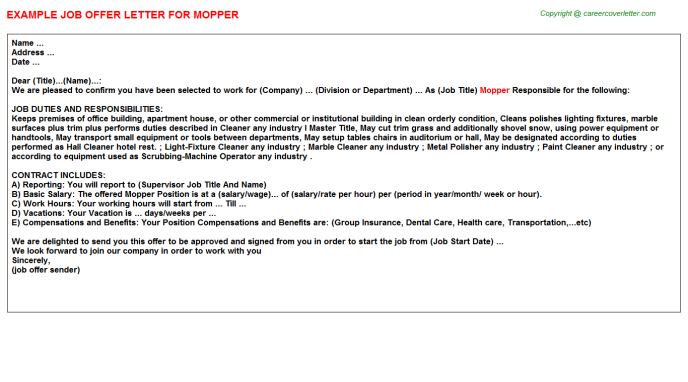 Mopper Job Offer Letter Template