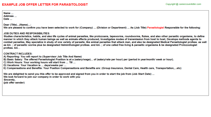 Parasitologist Offer Letter Template