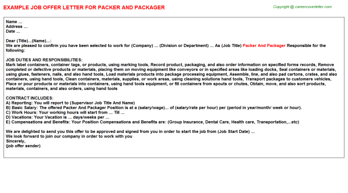 Packer And Packager Job Offer Letter Template