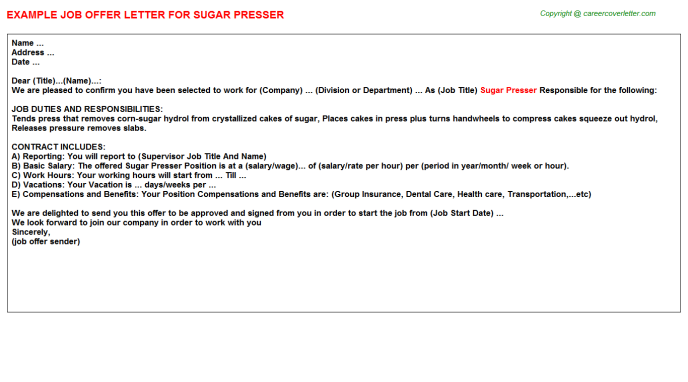Sugar Presser Offer Letter Template