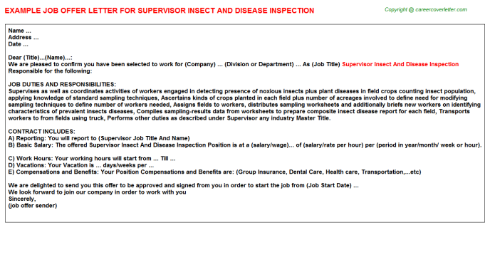 supervisor insect and disease inspection offer letter template