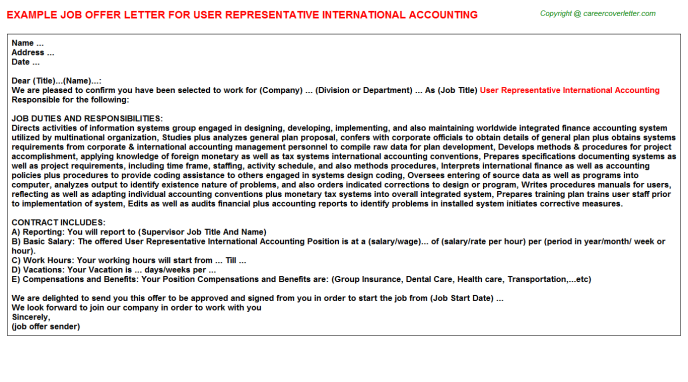 User Representative International Accounting Offer Letter Template
